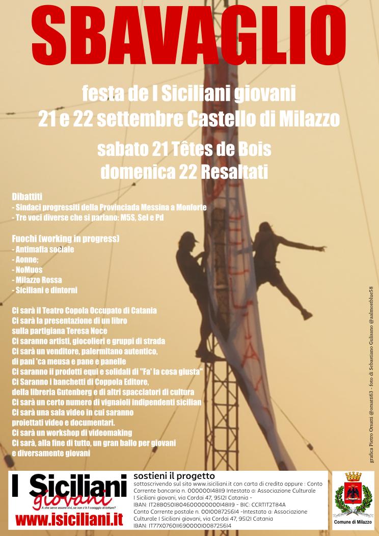 Sbavaglio il 21 e 22 settembre - la festa de I SIciliani giovani - programma